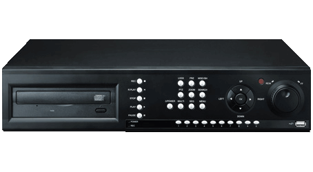 Front image of the UNIMO UDR-708E 8 channel Digital Video Recorder. Black in colour, with silver front raised control buttons, and the word UNIMO top right hand corner, with 2 front USB control ports, bottom right hand corner. There is a front DVD reader and shuttle control knob.