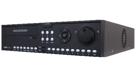 Front image of the UNIMO UDR-816 16 channel Digital Video Recorder. Black in colour, with silver front raised control buttons, and the word UNIMO top right hand corner, with 2 front USB control ports, bottom center. There is a front left DVD reader and shuttle control knob.