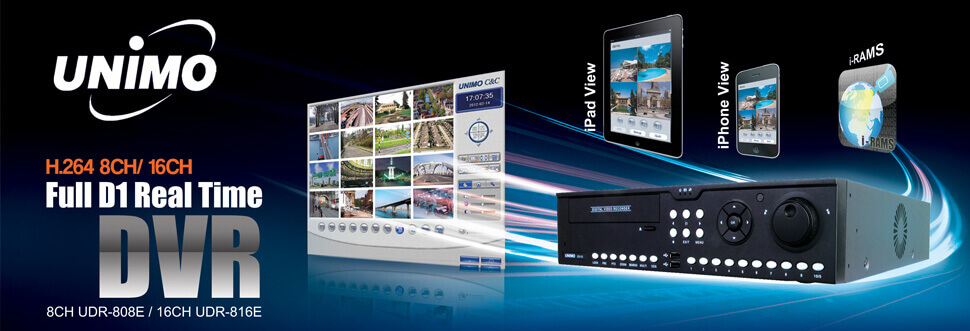 UNIMO main banner, blue in colour showing a digital video recorder, some smart devices that can view images from a UNIMO DVRs. There is also a captured screen shot of the iRAMs desktop software, and the words Full D1 Real time DVR 8CH recorder.